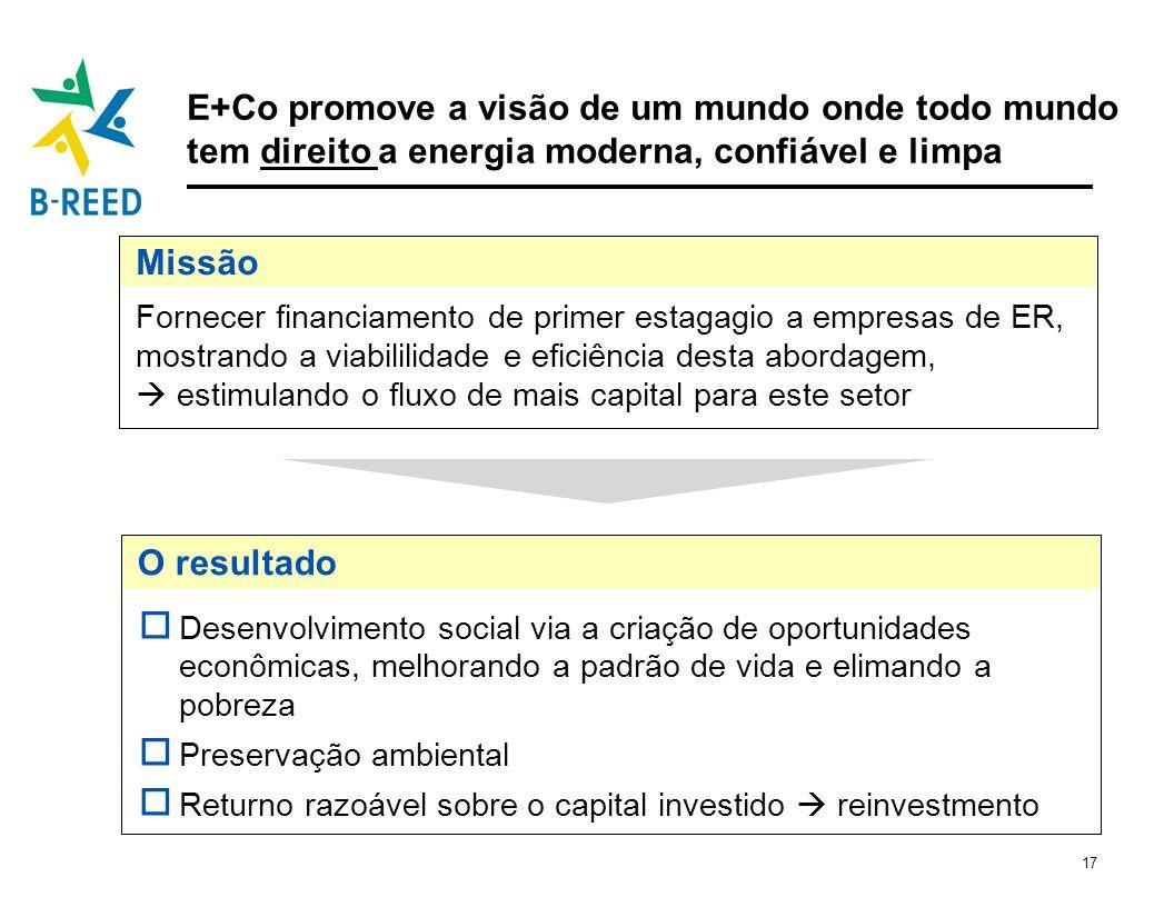 E+Co promove a visão de um mundo onde todo mundo tem direito a energia moderna, confiável e limpa