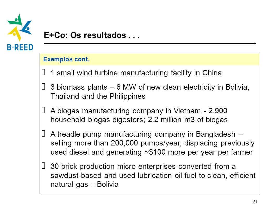E+Co: Os resultados . . . Exemplos cont. 1 small wind turbine manufacturing facility in China.