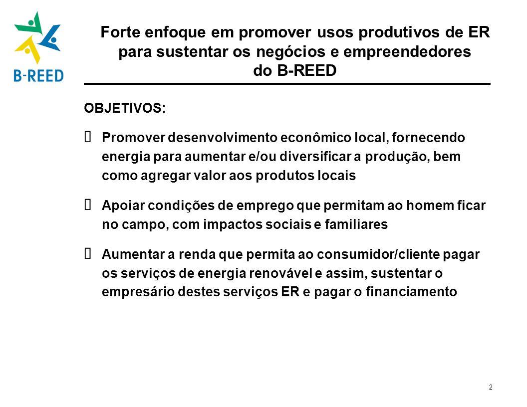 Forte enfoque em promover usos produtivos de ER para sustentar os negócios e empreendedores do B-REED