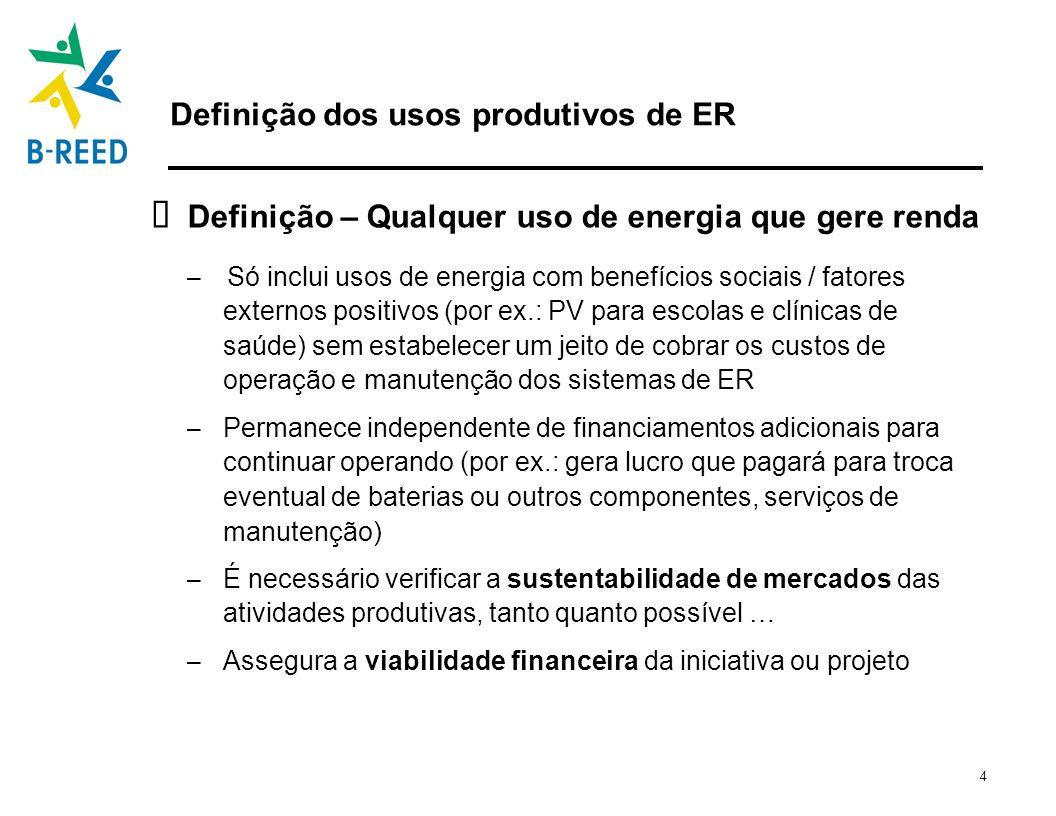 Definição dos usos produtivos de ER