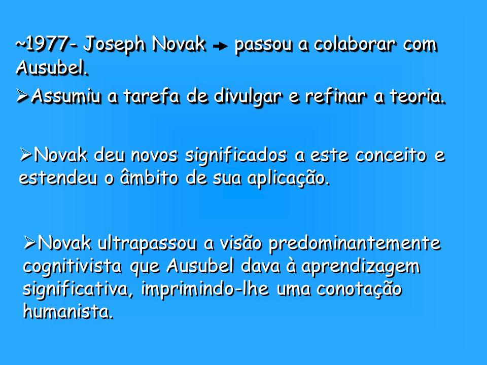 ~1977- Joseph Novak passou a colaborar com Ausubel.