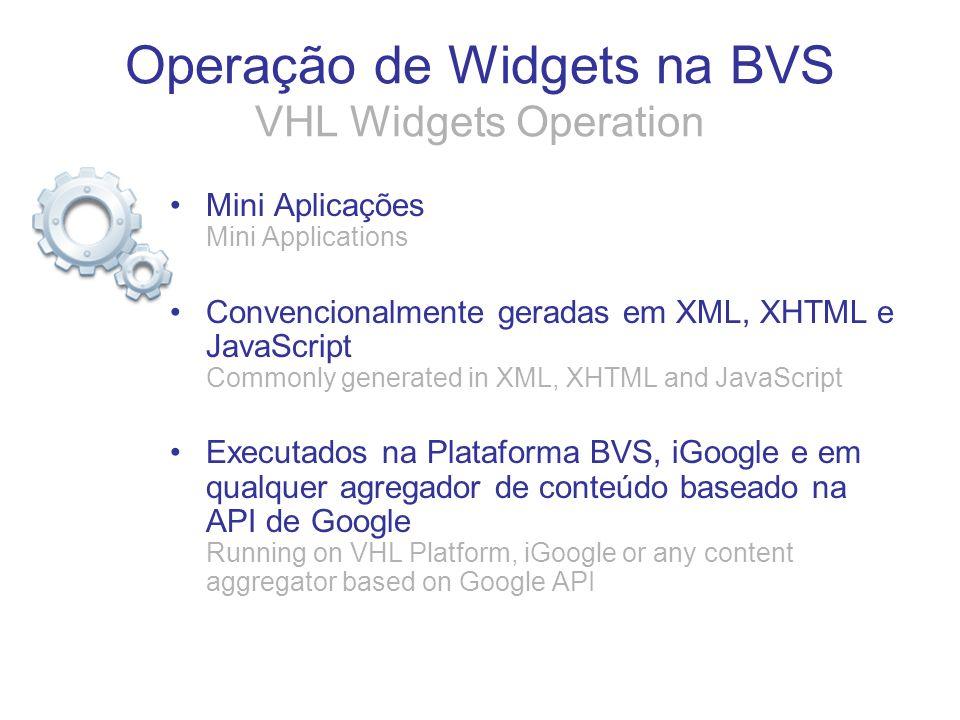 Operação de Widgets na BVS VHL Widgets Operation