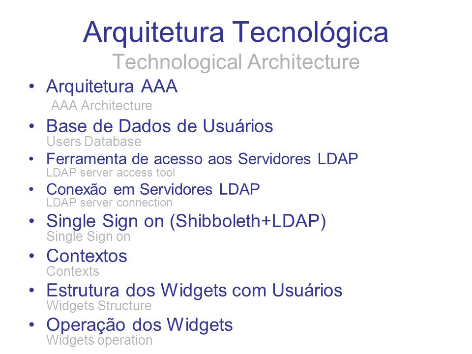 Arquitetura Tecnológica Technological Architecture