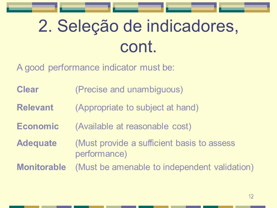 2. Seleção de indicadores, cont.