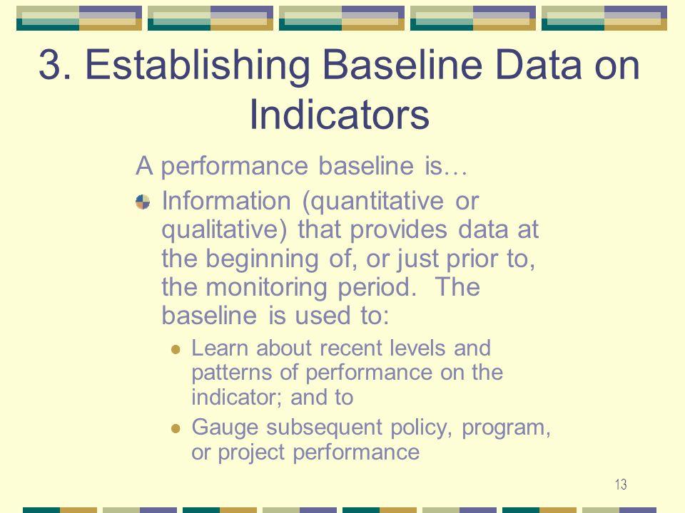 3. Establishing Baseline Data on Indicators