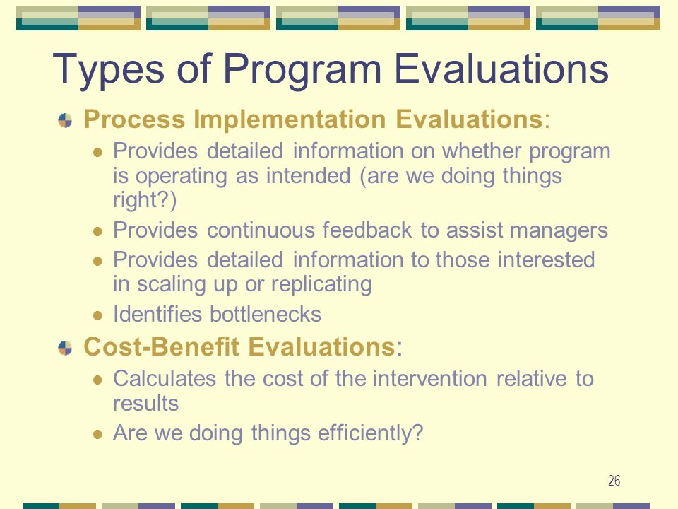 Types of Program Evaluations
