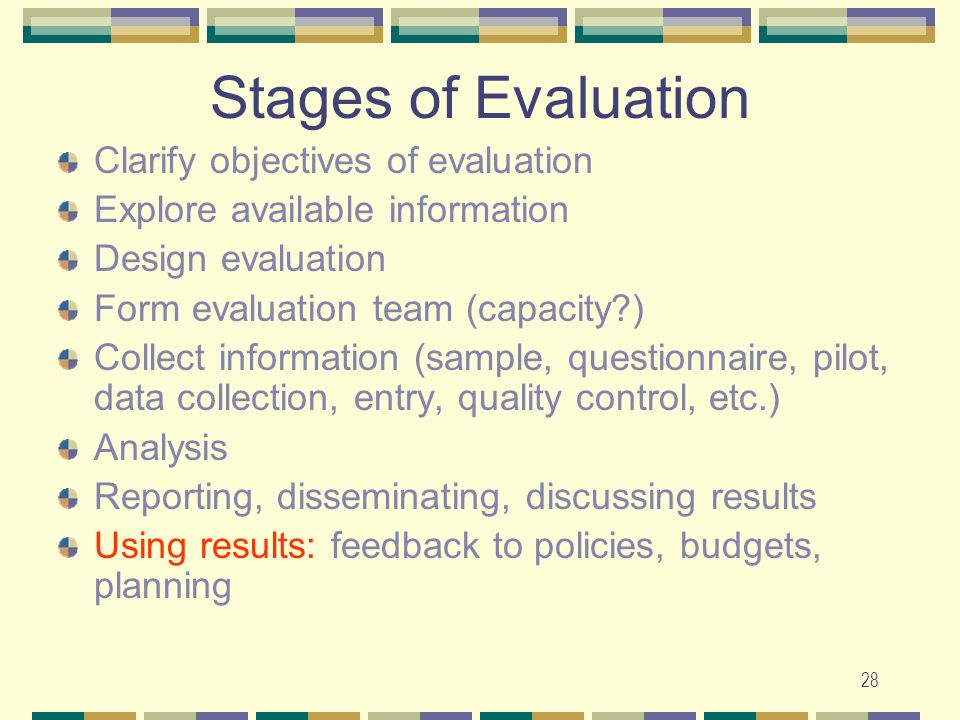 Stages of Evaluation Clarify objectives of evaluation