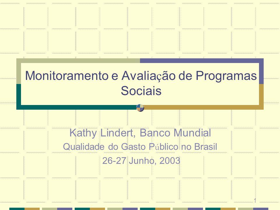 Monitoramento e Avaliação de Programas Sociais