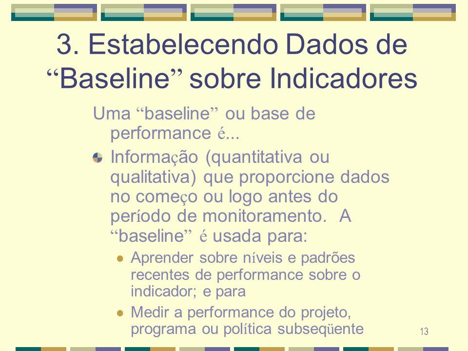 3. Estabelecendo Dados de Baseline sobre Indicadores