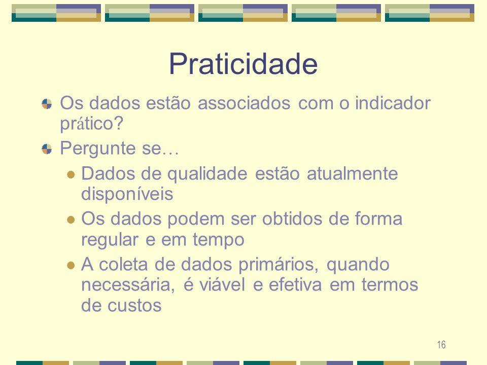 Praticidade Os dados estão associados com o indicador prático