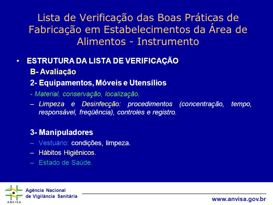 Lista de Verificação das Boas Práticas de Fabricação em Estabelecimentos da Área de Alimentos - Instrumento