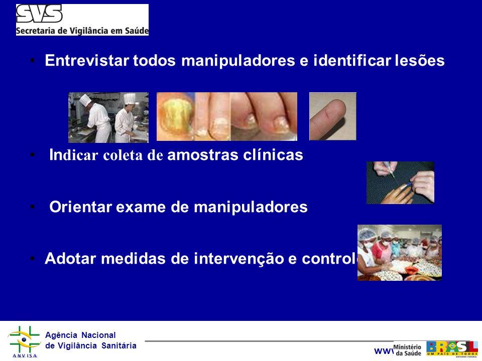 Entrevistar todos manipuladores e identificar lesões