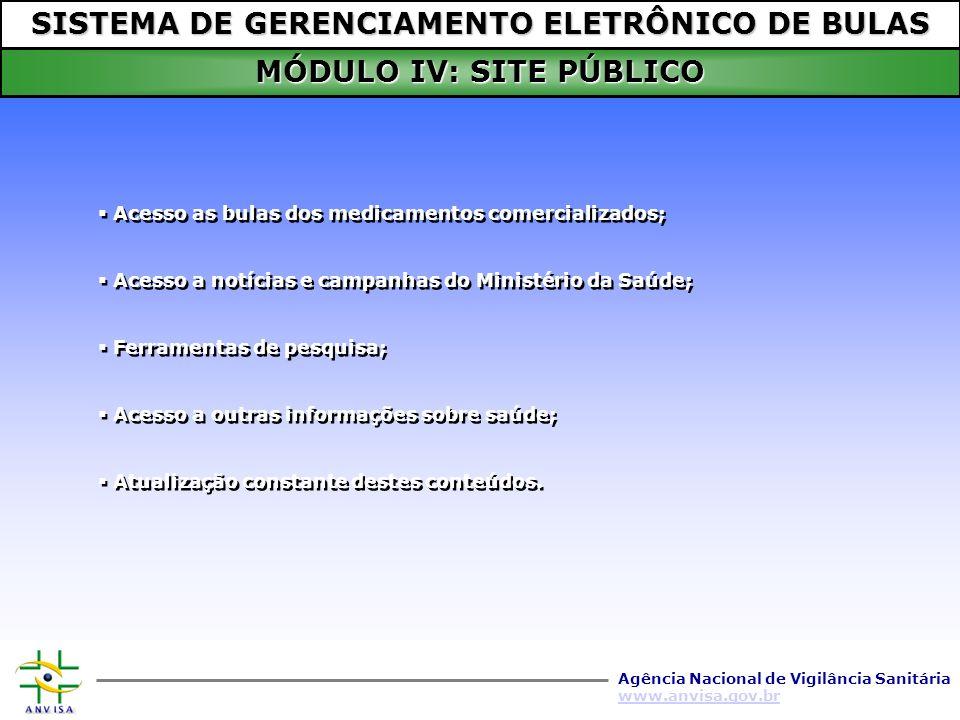 SISTEMA DE GERENCIAMENTO ELETRÔNICO DE BULAS MÓDULO IV: SITE PÚBLICO