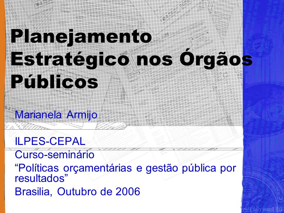 Planejamento Estratégico nos Órgãos Públicos