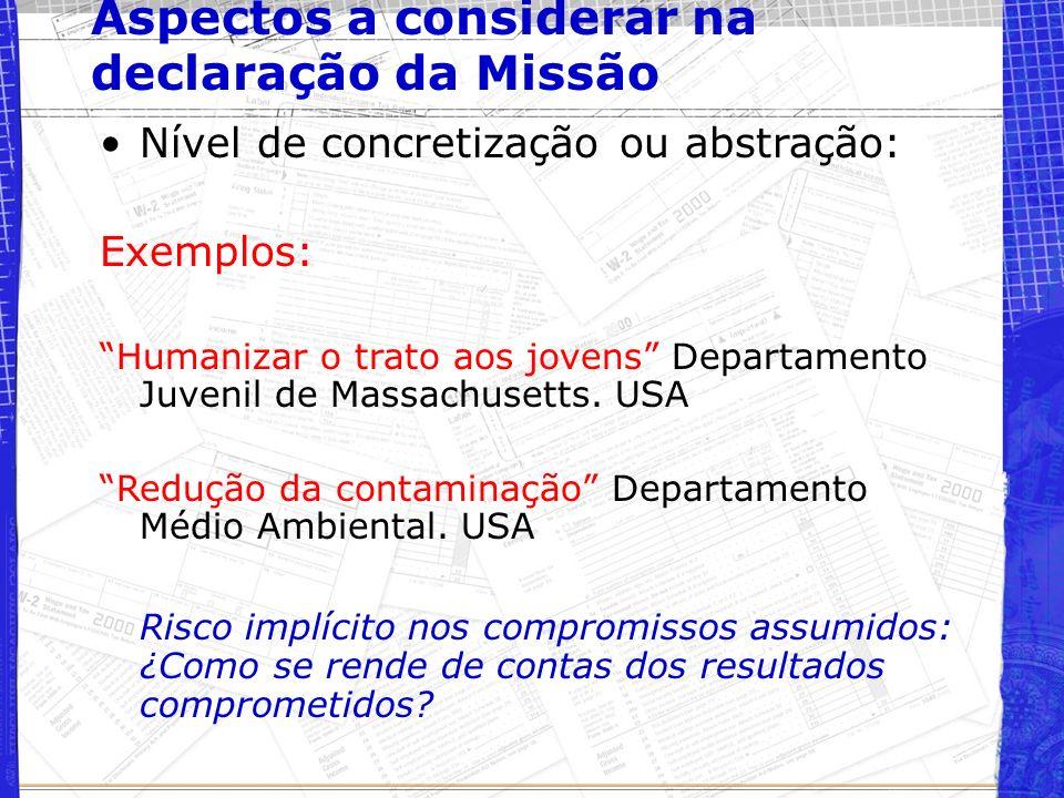 Aspectos a considerar na declaração da Missão