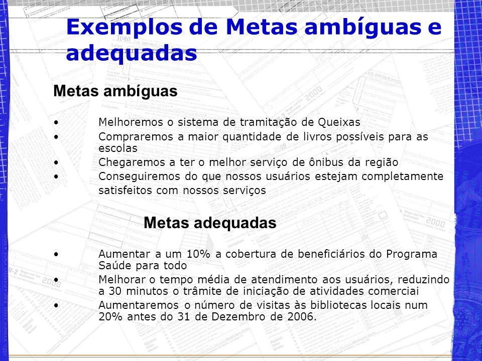 Exemplos de Metas ambíguas e adequadas