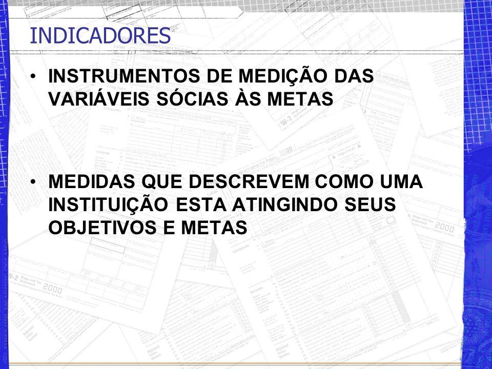 INDICADORES INSTRUMENTOS DE MEDIÇÃO DAS VARIÁVEIS SÓCIAS ÀS METAS