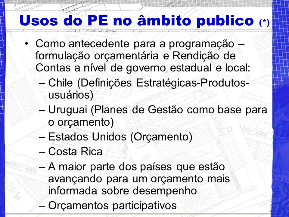 Usos do PE no âmbito publico (*)
