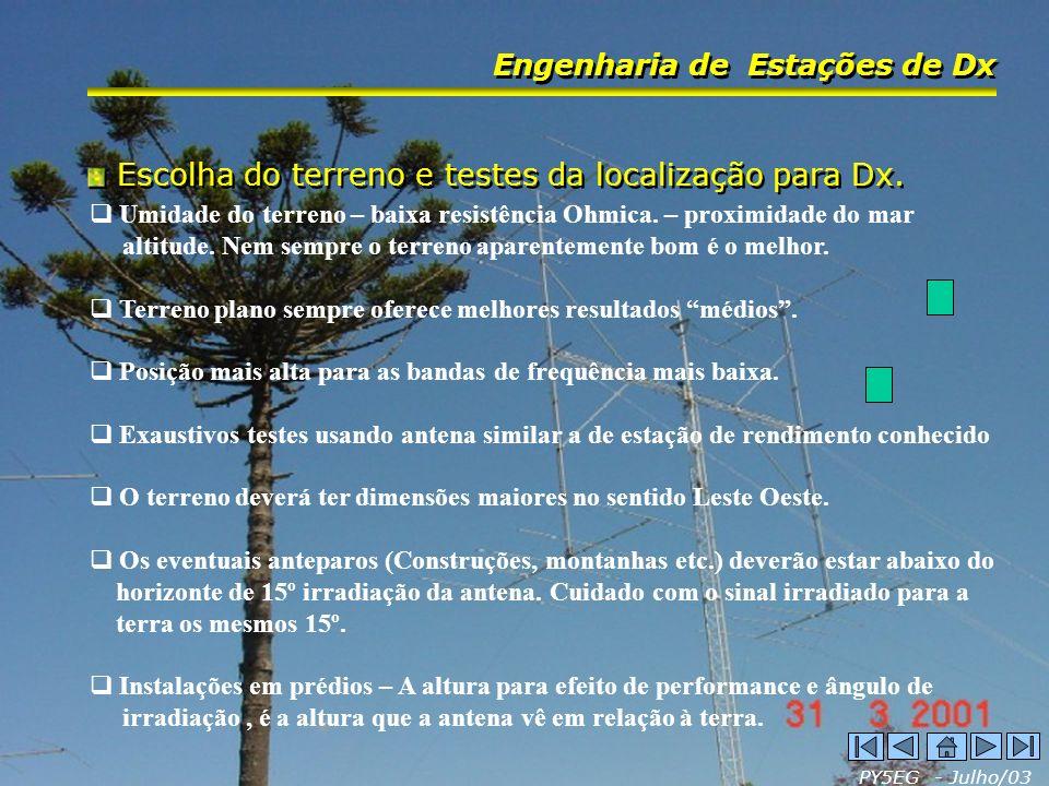 Escolha do terreno e testes da localização para Dx.
