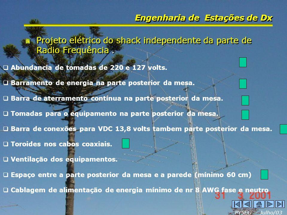 Projeto elétrico do shack independente da parte de Radio Frequência .