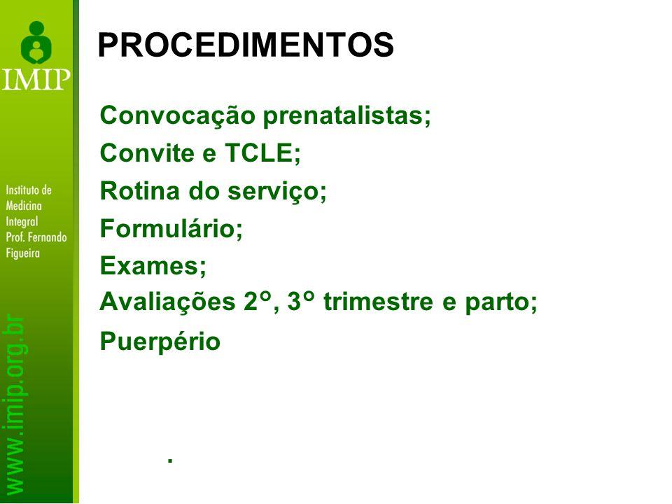 PROCEDIMENTOS Convocação prenatalistas; Convite e TCLE;