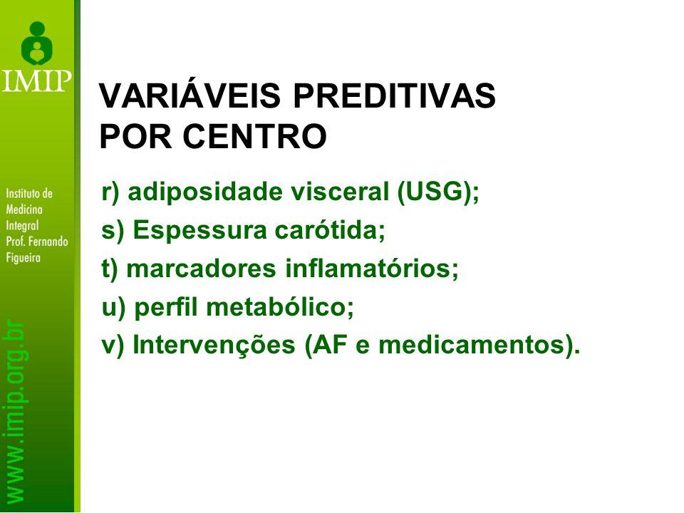 VARIÁVEIS PREDITIVAS POR CENTRO