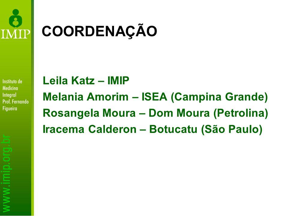 COORDENAÇÃO Leila Katz – IMIP Melania Amorim – ISEA (Campina Grande)