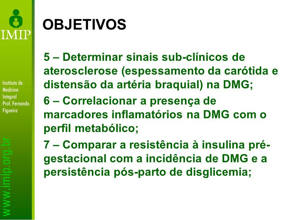 OBJETIVOS 5 – Determinar sinais sub-clínicos de aterosclerose (espessamento da carótida e distensão da artéria braquial) na DMG;