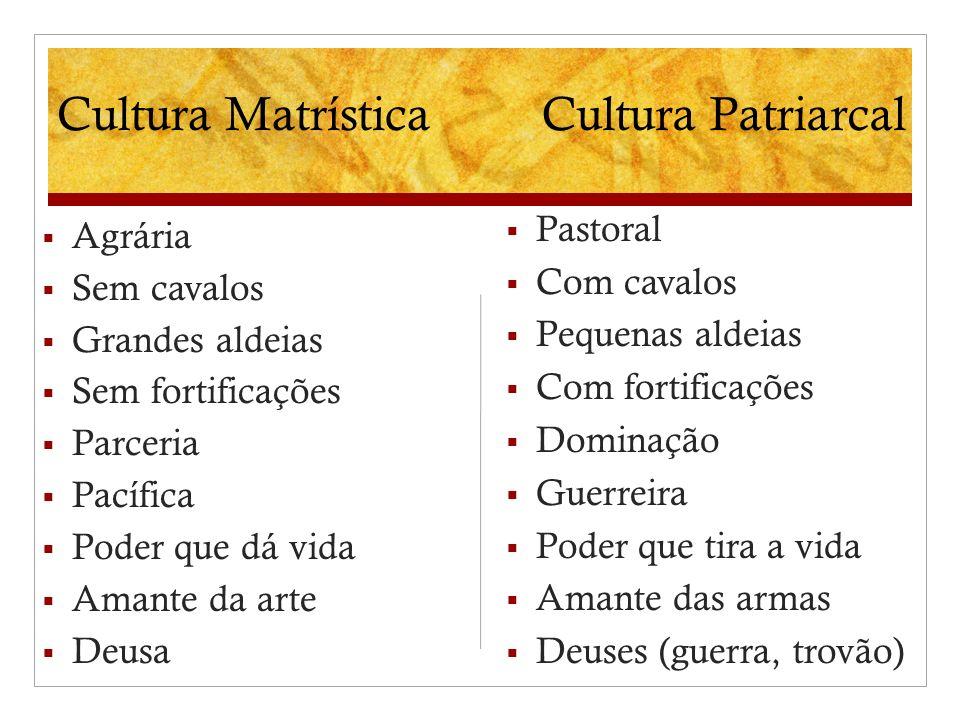 Cultura Matrística Cultura Patriarcal Pastoral Agrária Com cavalos