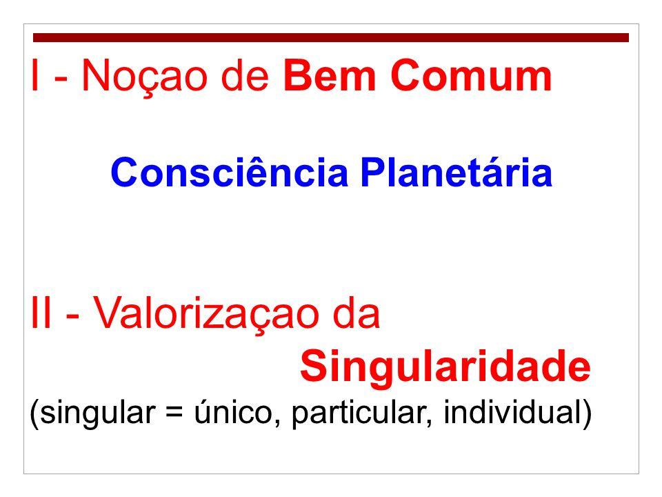 I - Noçao de Bem Comum II - Valorizaçao da Singularidade