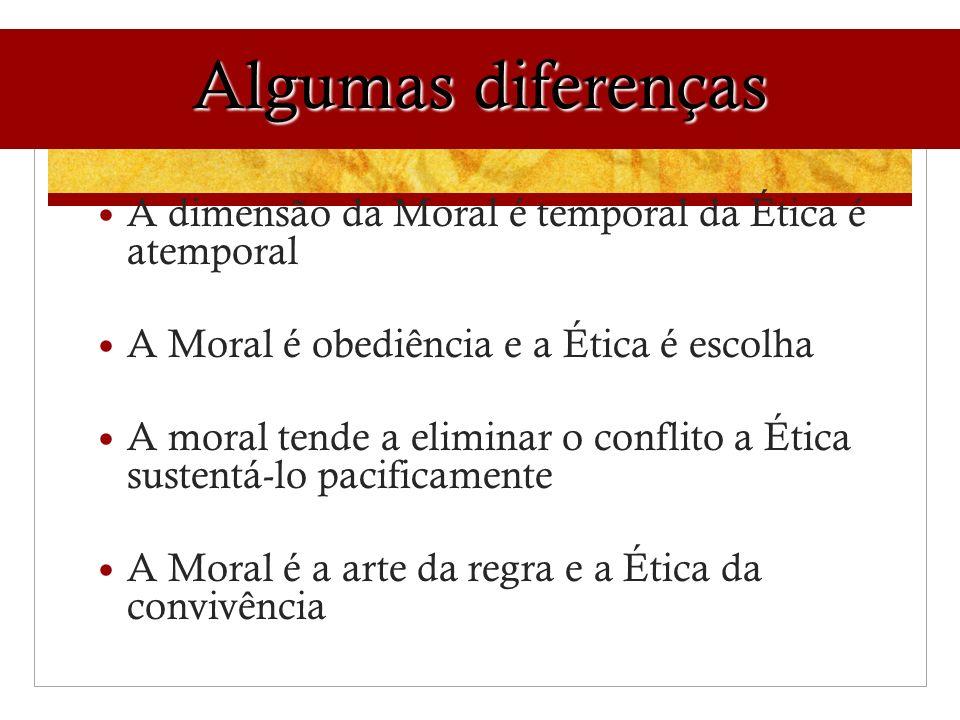 Algumas diferenças A dimensão da Moral é temporal da Ética é atemporal