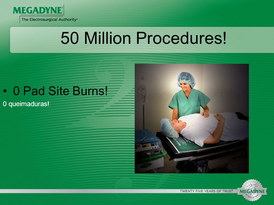 50 Million Procedures! 0 Pad Site Burns! 0 queimaduras!