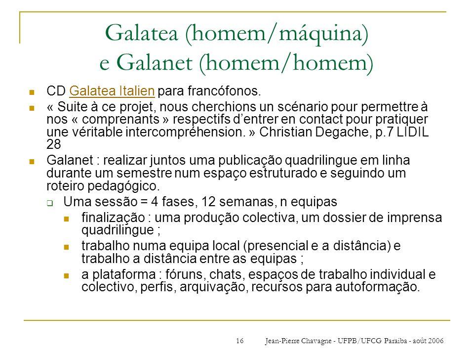 Galatea (homem/máquina) e Galanet (homem/homem)