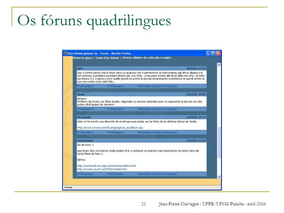 Os fóruns quadrilingues