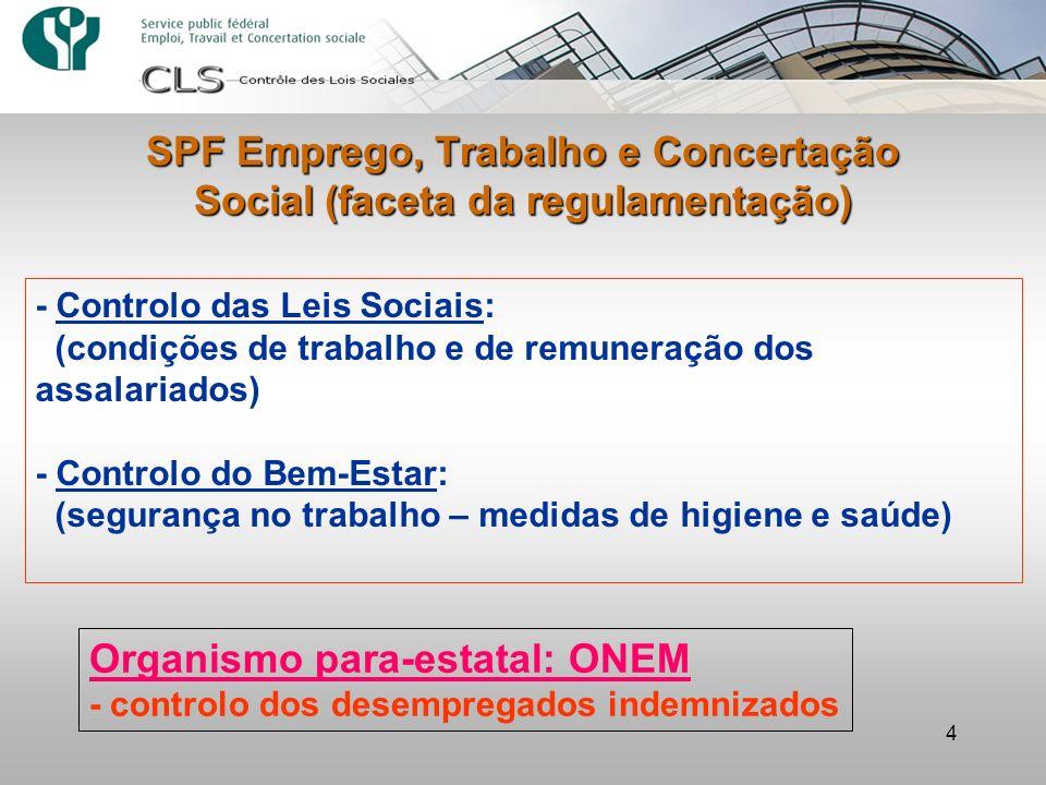 SPF Emprego, Trabalho e Concertação Social (faceta da regulamentação)