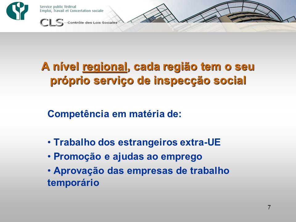 A nível regional, cada região tem o seu próprio serviço de inspecção social