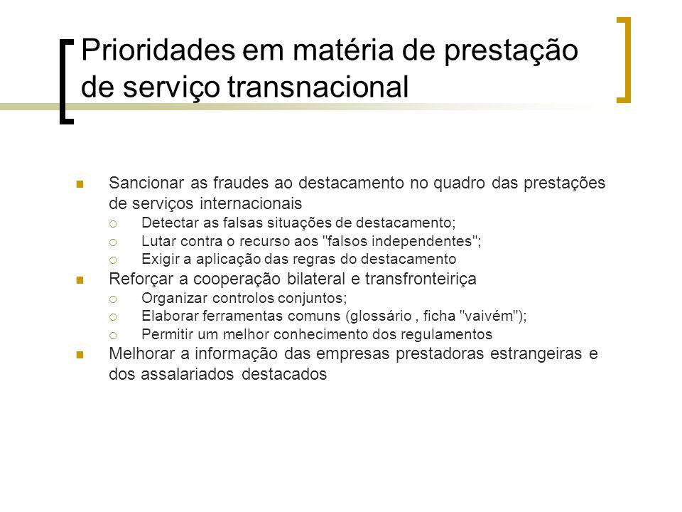 Prioridades em matéria de prestação de serviço transnacional