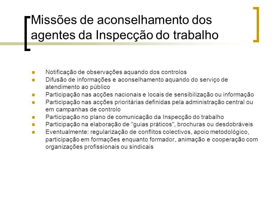 Missões de aconselhamento dos agentes da Inspecção do trabalho