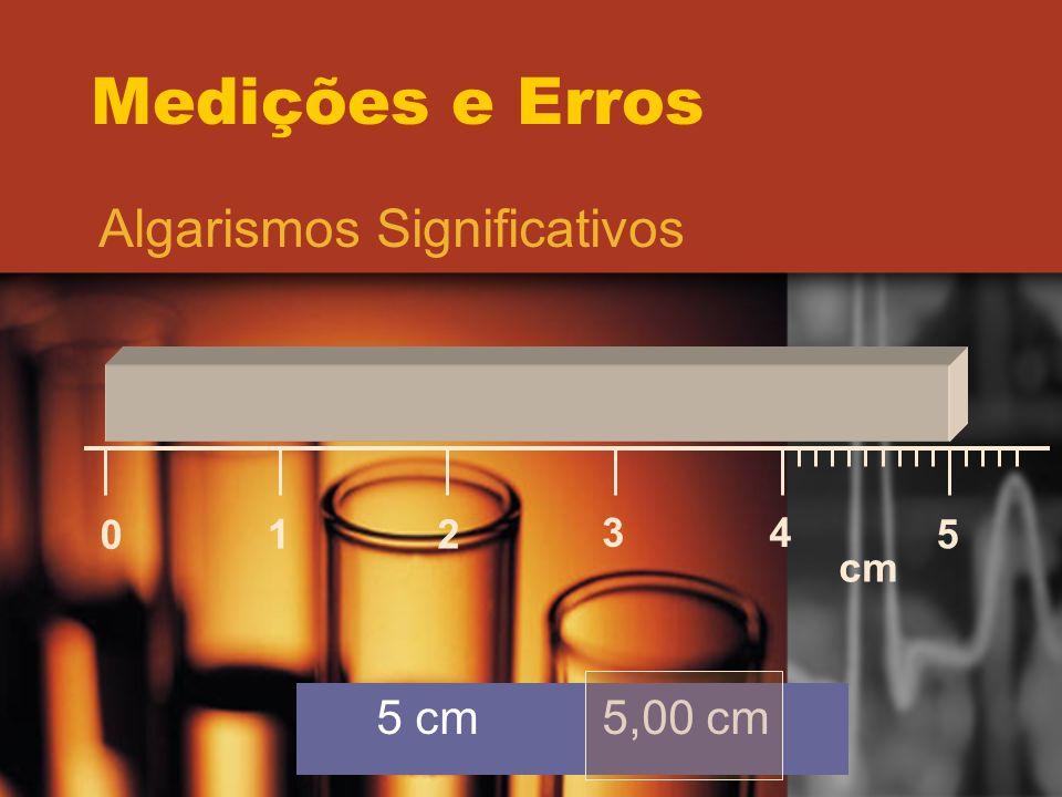 Medições e Erros Algarismos Significativos 1 2 3 4 5 cm 5 cm 5,00 cm