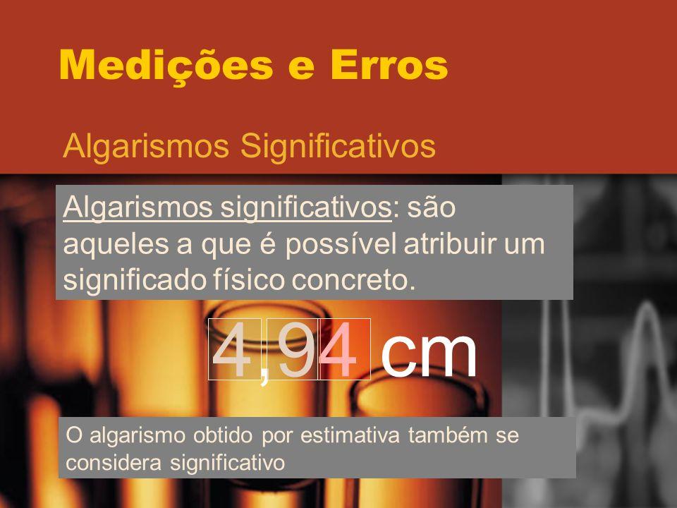 4,94 cm Medições e Erros Algarismos Significativos