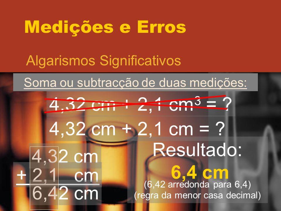 4,32 cm + 2,1 cm3 = 4,32 cm + 2,1 cm = Resultado: 4,32 cm 6,4 cm