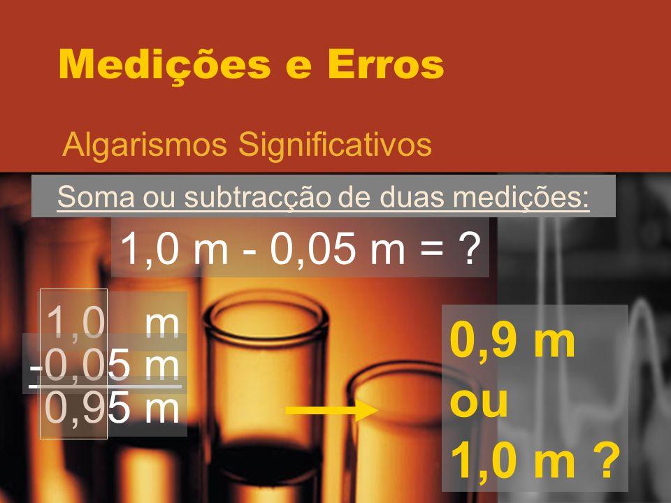 Soma ou subtracção de duas medições: