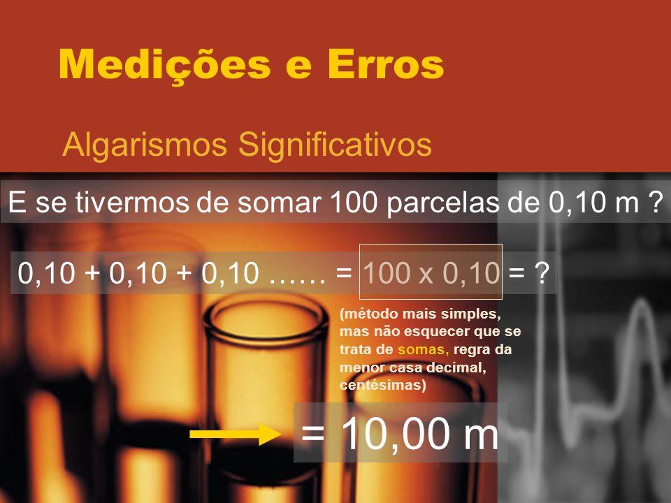 = 10,00 m Medições e Erros Algarismos Significativos