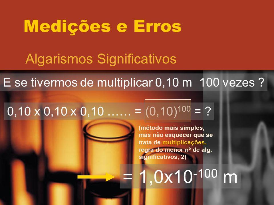 = 1,0x10-100 m Medições e Erros Algarismos Significativos