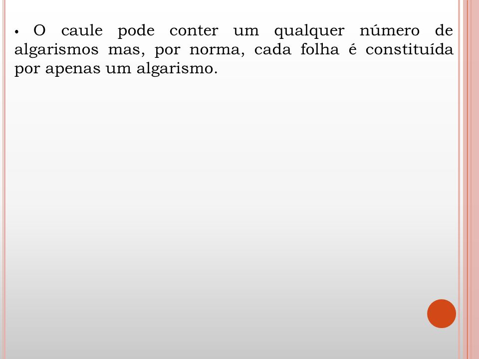 • O caule pode conter um qualquer número de algarismos mas, por norma, cada folha é constituída por apenas um algarismo.