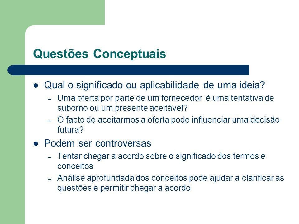 Questões Conceptuais Qual o significado ou aplicabilidade de uma ideia