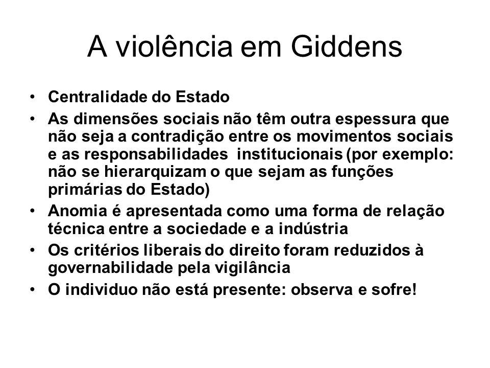 A violência em Giddens Centralidade do Estado