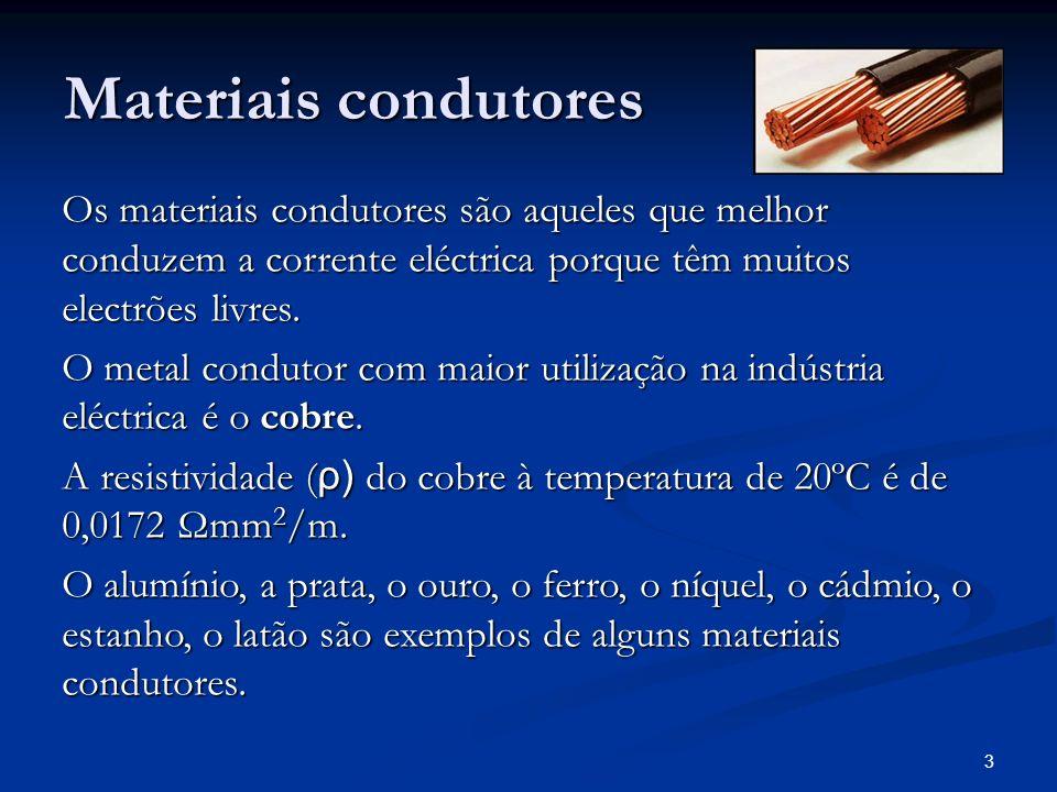 Materiais condutores Os materiais condutores são aqueles que melhor conduzem a corrente eléctrica porque têm muitos electrões livres.