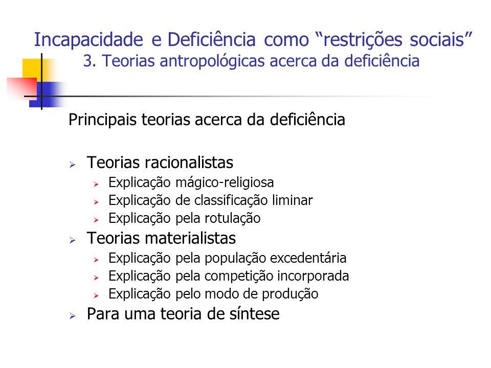 Incapacidade e Deficiência como restrições sociais . 3