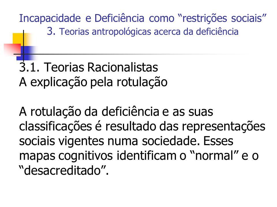 3.1. Teorias Racionalistas A explicação pela rotulação
